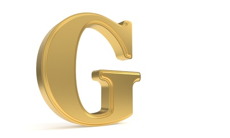 G gold romantic alphabet, 3d render