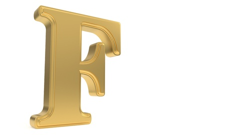 qwerty: F gold romantic alphabet, 3d render Stock Photo