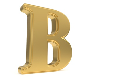 qwerty: B gold romantic alphabet, 3d render Stock Photo