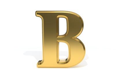 B ゴールド色のアルファベット、3d レンダリング