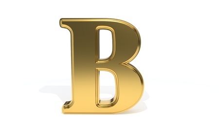 B gold colored alphabet, 3d render Stock Photo