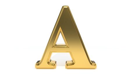 Un alfabeto de color dorado, render 3d