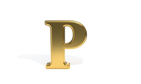 P gold colored alphabet, 3d render