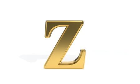 monotype: Z gold colored alphabet, 3d render