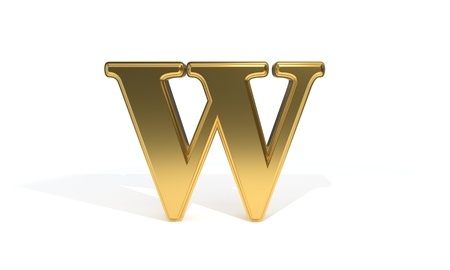 W gold colored alphabet, 3d render Stock Photo