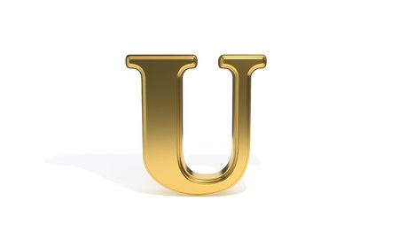 U gold colored alphabet, 3d render