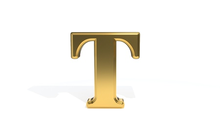 T gold colored alphabet, 3d render