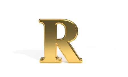 R gold colored alphabet, 3d render Stock Photo