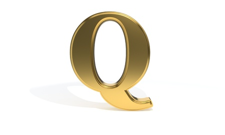 Q gold colored alphabet, 3d render