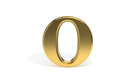 O gold colored alphabet, 3d render Stock Photo