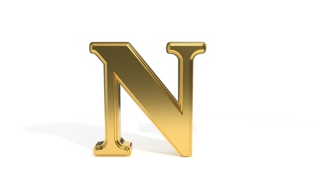 N gold colored alphabet, 3d render Stock Photo