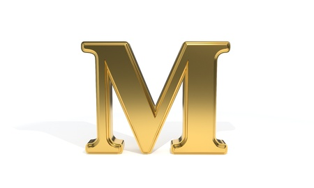 qwerty: M gold colored alphabet, 3d render Stock Photo