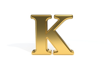 K gold colored alphabet, 3d render