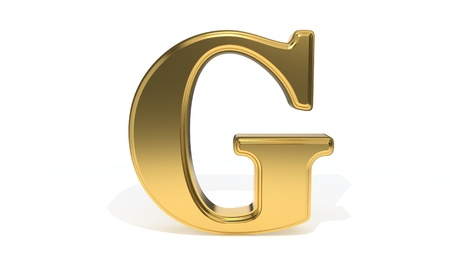 qwerty: G gold colored alphabet, 3d render Stock Photo
