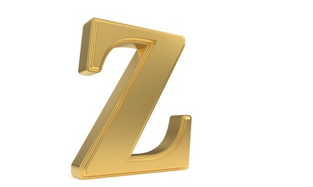 Z gold romantic alphabet, 3d render