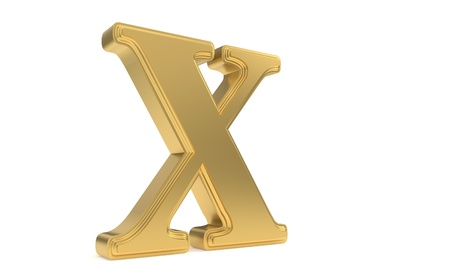 X gold romantic alphabet, 3d render Stock Photo