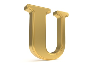 qwerty: U gold romantic alphabet, 3d render