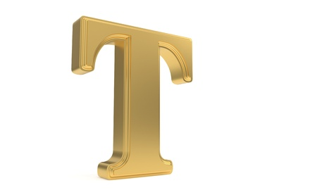 T gold romantic alphabet, 3d render Stock Photo
