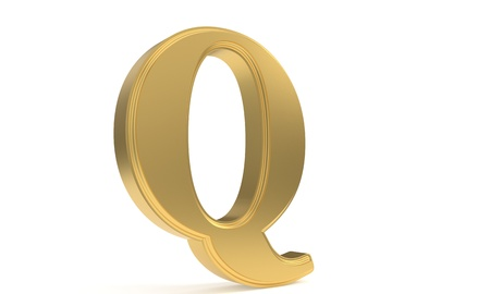 Q gold romantic alphabet, 3d render Stock Photo