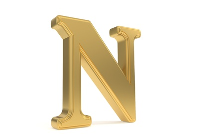 qwerty: N gold romantic alphabet, 3d render