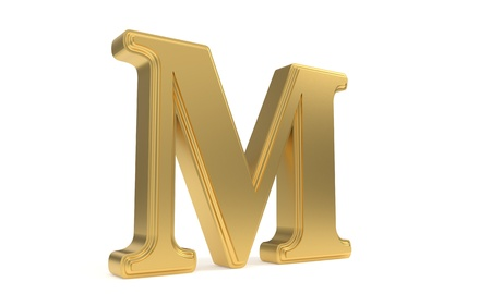 qwerty: M gold romantic alphabet, 3d render Stock Photo