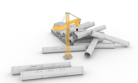 crone: Building construction projects on white, 3d render Stock Photo