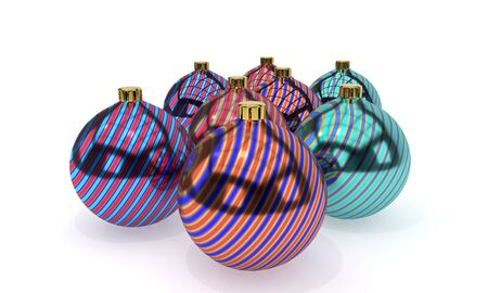Wave christmas colored balls of background, 3d render