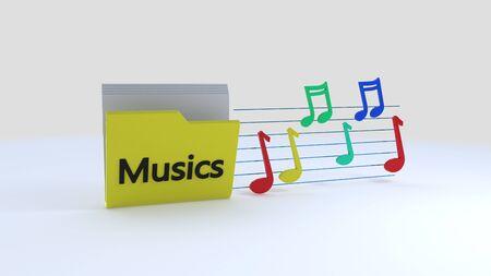 Musics folder symbols, 3d rendering Stock Photo