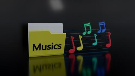 Musics folder symbols, 3d rendering Imagens
