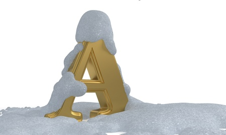 A gold snow alphabet, 3d render