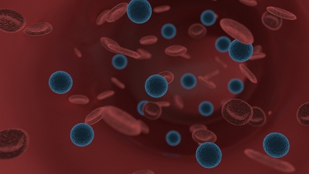 Intravenous and red blood cells, 3d render