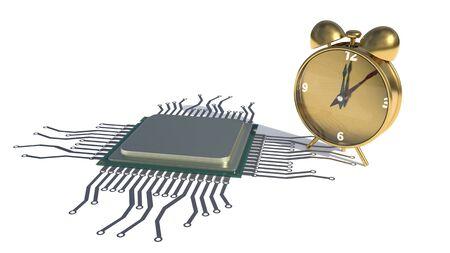 CPU and clock, 3d rendering