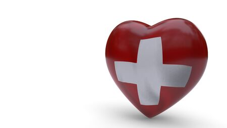 Switzerland join concept of love background, 3d render