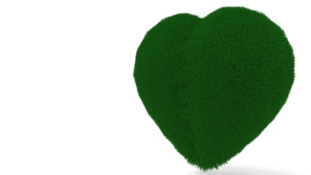 Heart background covered with grass, 3d render