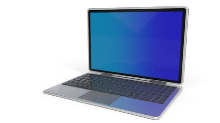 Laptop model on a white background, 3d rendering