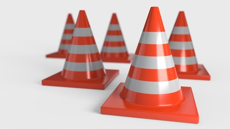 Traffic cone on a white background, 3d render Stock Photo