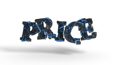 PRICE fragmented writing background, 3d render