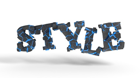 STYLE fragmented writing background, 3d render