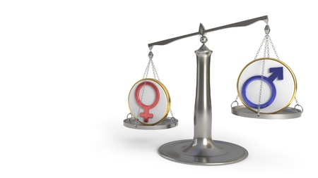 Man and woman concept of balance, 3d render Imagens