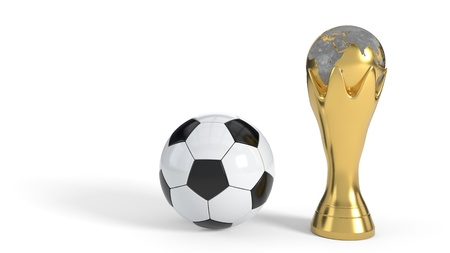 World Cup and soccer ball on white background, 3d render Imagens