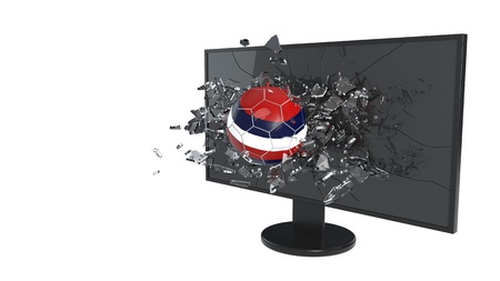 Fracture glass and football, 3d render