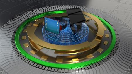 The object platform, intelligent clock, 3d render