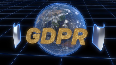 GDPR security concept background, 3d render