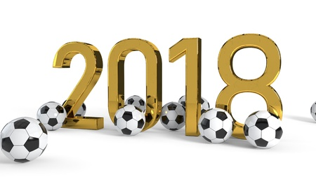 2018 soccer championship concept background, 3d render