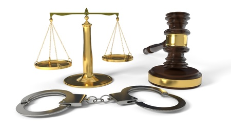 Justice gavel and handcuffs on white background, 3d render