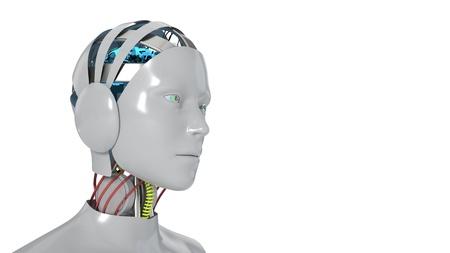 Robot woman working white background, 3d render