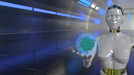 Robot technology energy concept, 3d render