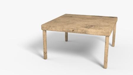 Old wooden table background work, 3d render