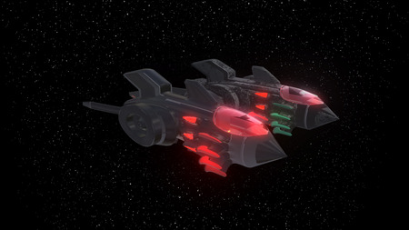 Space Fighter Aircraft of background, 3d render Imagens