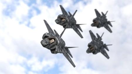 Warplanes team background, 3d render Imagens